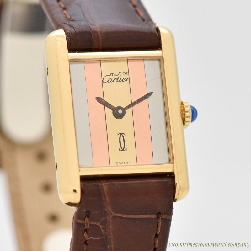 1980's Vintage Cartier Tank Must De Ladies Sized 18k Yellow Gold Plated Watch