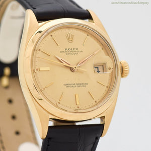 1962 Vintage Rolex Datejust Reference 1601 18k Yellow Gold Watch