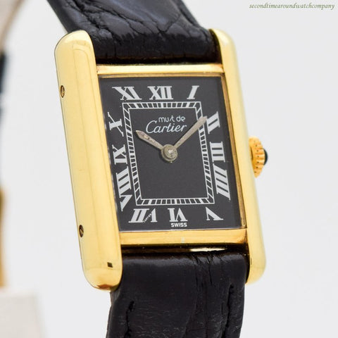 1990's era Cartier Tank Must De Ladies Size 18k Yellow Gold Plated Watch