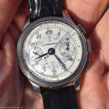 1939 Vintage Longines 2-Register Chronograph Stainless Steel Watch (# 12464)