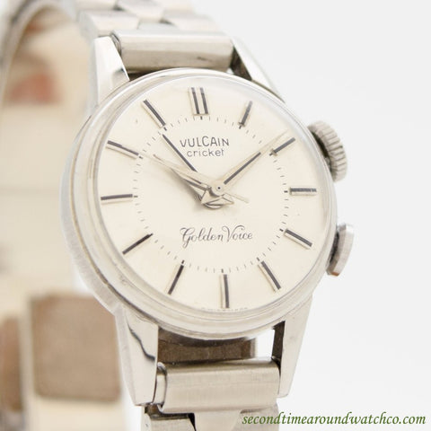 "1970's Vintage Vulcain Cricket Alarm Ladies ""Golden Voice"" Ref. 1858 Stainless Steel Watch"