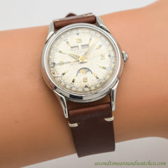 1950's Vintage Zodiac Triple Date Moonphase Stainless Steel Watch