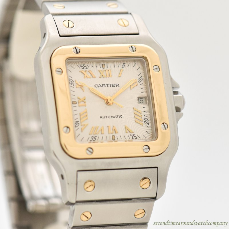 2000's era Cartier Santos Men's Sized 18k Yellow Gold & Stainless Steel Watch