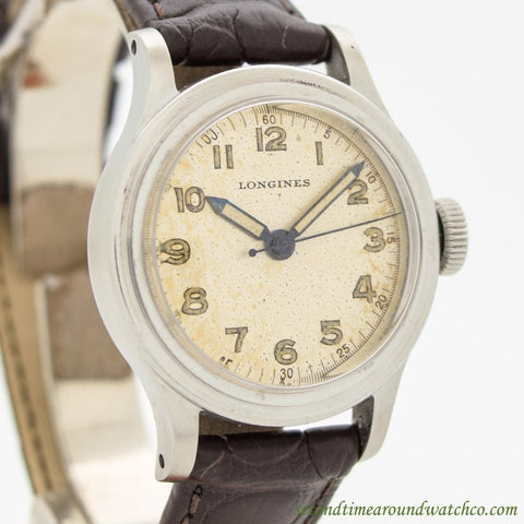 1945 Vintage Longines Tre Tacche WWII Military Stainless Steel Watch