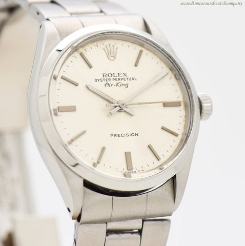1972 Vintage Rolex Air-King Ref. 5500 Stainless Steel Watch