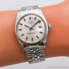 1972 Vintage Rolex Datejust Ref. 1601 14k White Gold & Stainless Steel Watch
