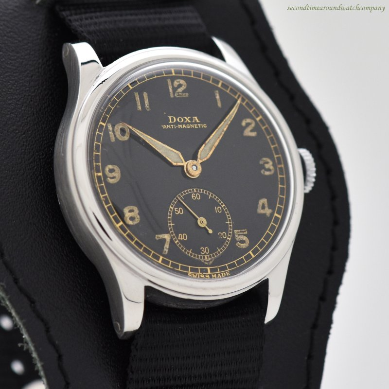 1940's Vintage Doxa WWII-era Military Stainless Steel Watch