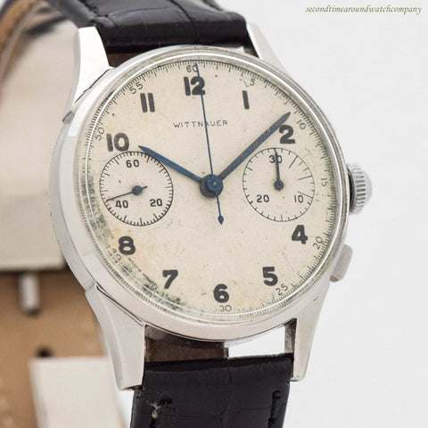 1940's Vintage Wittnauer 2 Register Chronograph Stainless Steel Watch