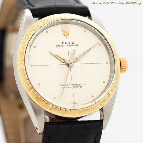 1966 Vintage Rolex Oyster Perpetual Zephyr Ref. 1008 14k Yellow Gold & Stainless Steel Watch