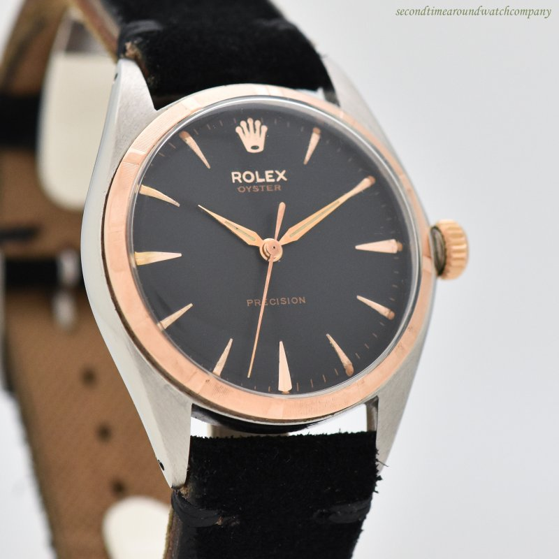 1954 Vintage Rolex Oyster Precision Reference 5025/1 14k Rose Gold & Stainless Steel Watch