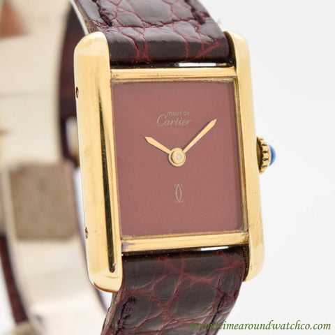 1990's Cartier Tank Must De Ladies Size 18k Yellow Gold Plated Watch with Red Dial