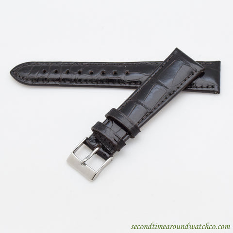 100% Genuine Alligator Watch Straps -- Glossy Dark Chocolate Brown