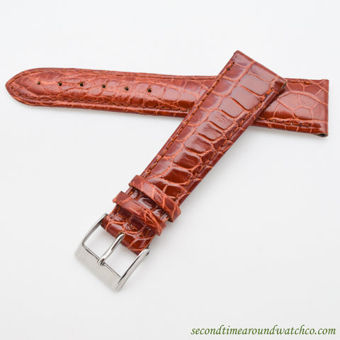100% Genuine Alligator Watch Straps -- Glossy Caramel Brown