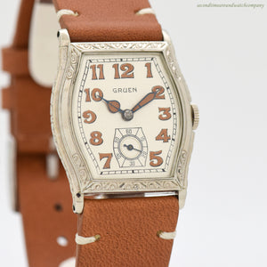1929 Vintage Gruen Tonneau-shaped 14k White Gold Filled Watch