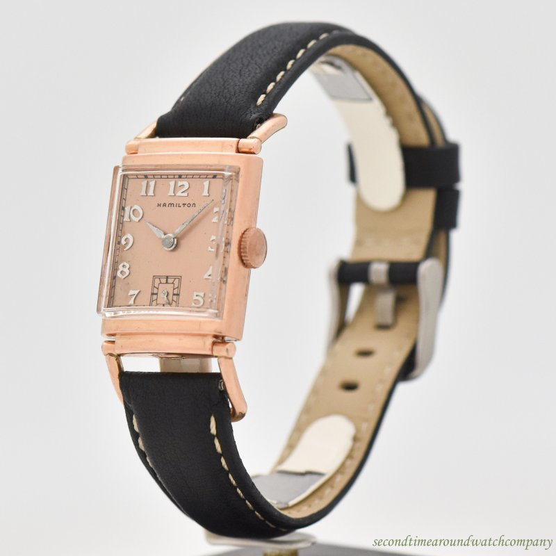 1939 Vintage Hamilton Driver's-style 14k Rose Gold Filled Watch
