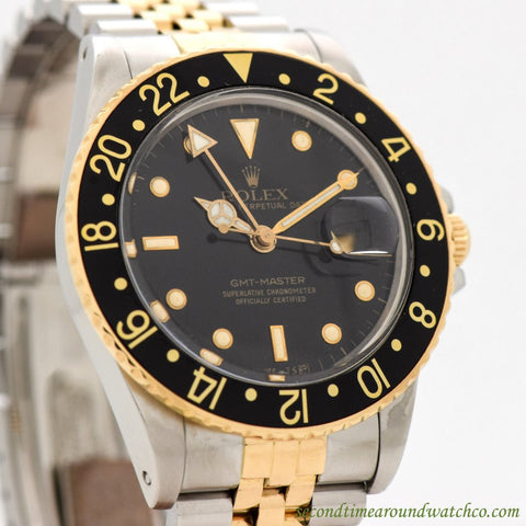 1986 Vintage Rolex GMT-Master Ref. 16753 18k Yellow Gold & Stainless Steel Watch