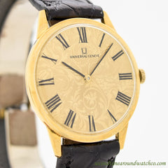 1980's Vintage Universal Geneve Ultra Thin 18k Yellow Gold Watch