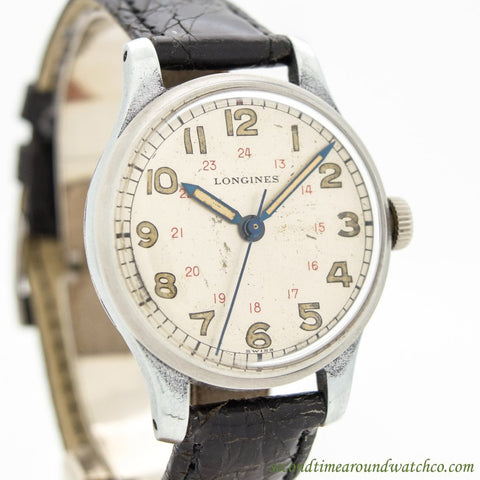 1946 Vintage Longines Military Stainless Steel Watch