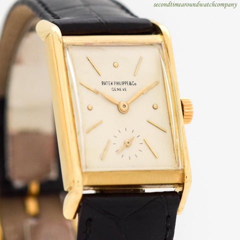 1940 Vintage Patek Philippe Rectangular-shaped 18k Yellow Gold Watch
