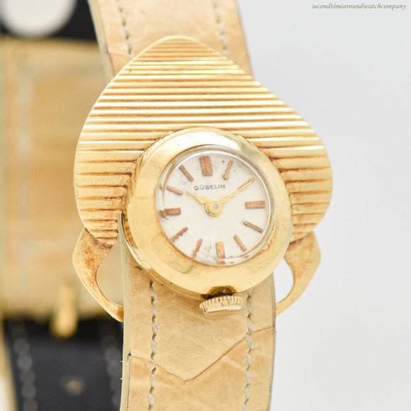 1980's Vintage Gubelin Ladies 18k Yellow Gold Watch