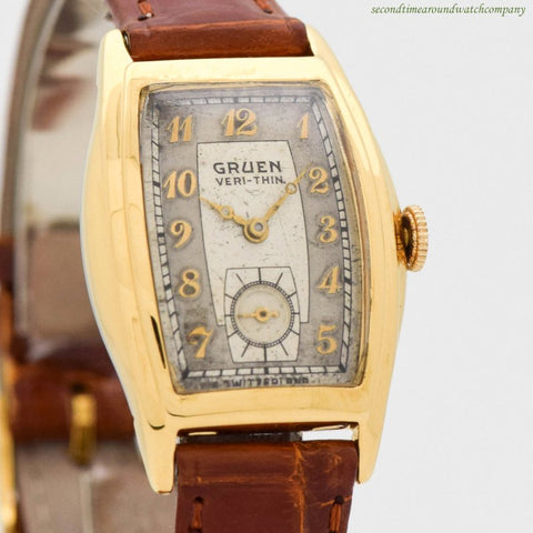 1939 Vintage Gruen Veri-thin 10k Yellow Gold Filled & Stainless Steel Watch