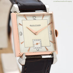 1940's era Jaeger LeCoultre Square-shaped 14k Rose Gold & Stainless Steel Watch