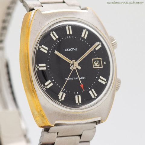 1970's Vintage Glycine Wrist Alarm Chrome & Stainless Steel Watch