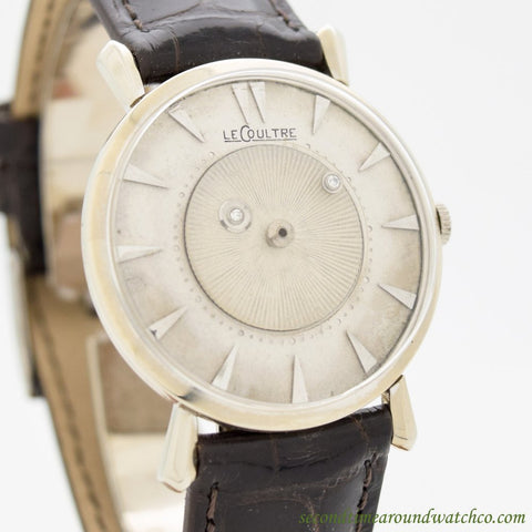 1950's Vintage Jaeger Le Coultre Mystery Dial 14k White Gold Watch