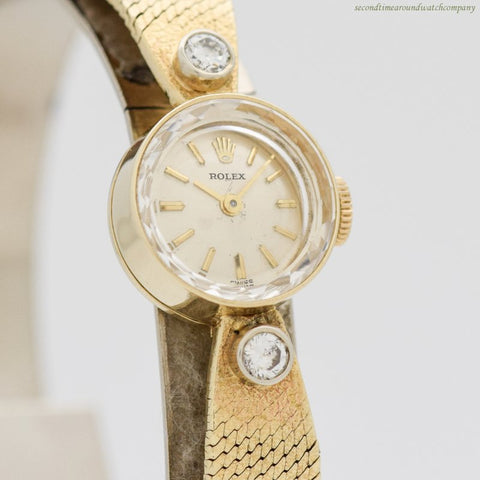 1970's Vintage Rolex Ladies 14k Yellow Gold & Diamond Watch
