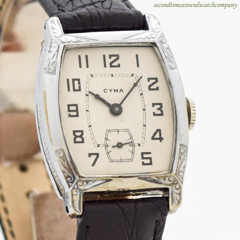 1930's Vintage Cyma Tonneau-shaped White Gold Filled Watch