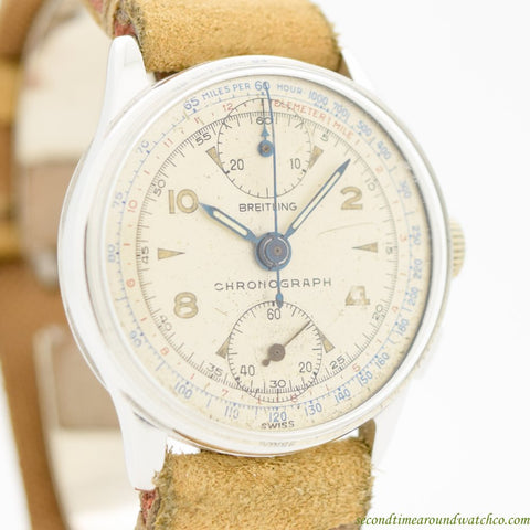 1940's Vintage Breitling 2-Register Chronograph Chrome & Stainless Steel Watch