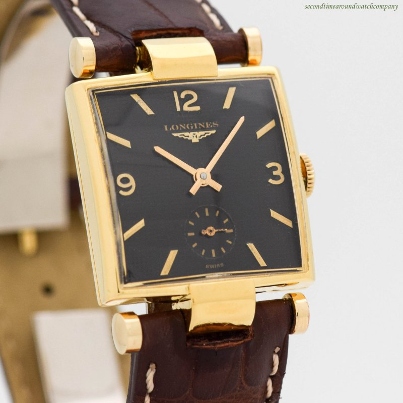 1953 Vintage Longines Rectangular-shaped 10k Yellow Gold Filled Watch