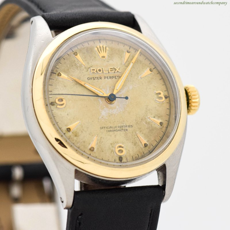 1958 Vintage Rolex Oyster Perpetual Ref. 6085 14k Yellow Gold & Stainless Steel Watch