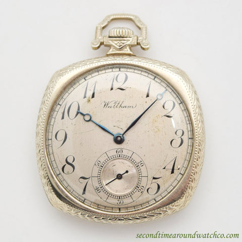 1922 Vintage Waltham Pocket Watch 14k White Gold Watch