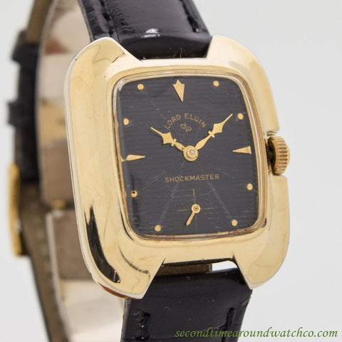 1960's Vintage Lord Elgin Shockmaster 14k Yellow Gold Filled Watch
