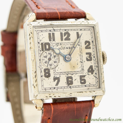 1927 Vintage Illinois Bristol 14k White Gold Filled Watch