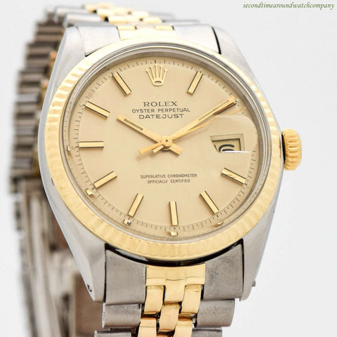 1971 Vintage Rolex Datejust Ref. 1601 14k Yellow Gold & Stainless Steel Watch