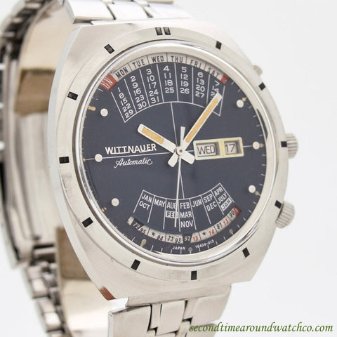 1972 Vintage Wittnauer Calendar 2001/W102 Stainless Steel Watch