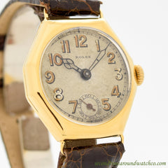 1920's Vintage Rolex Octagon-shaped 14k Yellow Gold Plated Watch