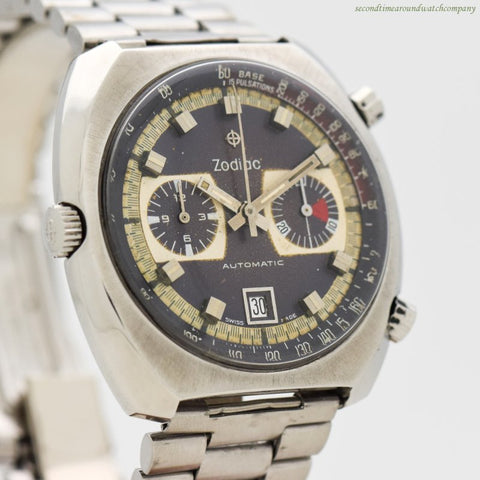 1970's Vintage Zodiac 2-Register Chronograph Stainless Steel Watch