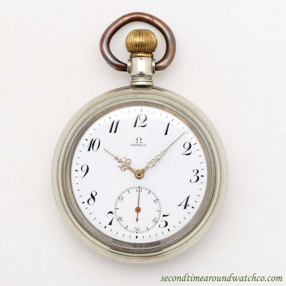 1913 Vintage Omega Maritime-style Nickle Pocket Watch