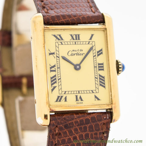 1990's Cartier Tank Must De Men's Size 14k Yellow Gold Plated Watch