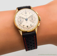 1950's Vintage Doxa 2-Register Chronograph 10k Yellow Gold Filled & Stainless Steel Watch