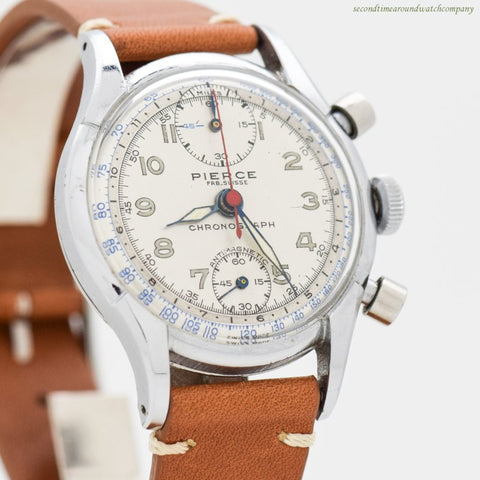 1950's era Pierce 2-Register Chronograph Stainless Steel Watch