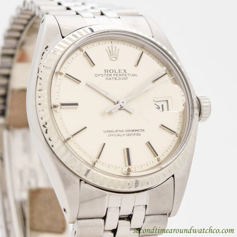 1971 Vintage Rolex Datejust Ref. 1603 14K White Gold & Stainless Steel Watch