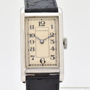 1925 Vintage Longines Rectangular-shaped Steel Watch