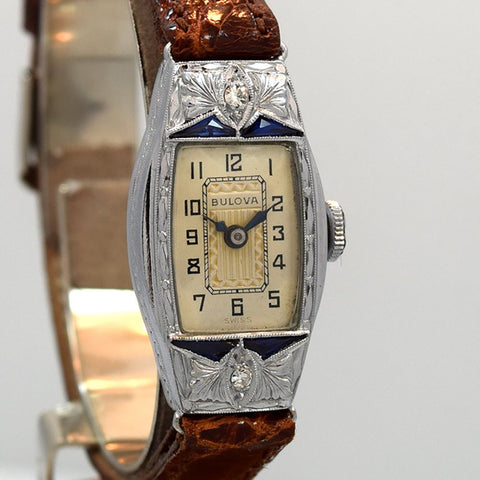 SOLD 1930 Bulova Ladies White Gold, 14k