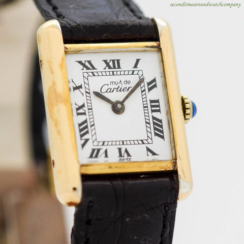 1990's Cartier Tank Must De Ladies Size 18k Yellow Gold Plated Watch