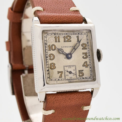 1925 Vintage Longines 14k White Gold Filled Square-shaped Watch