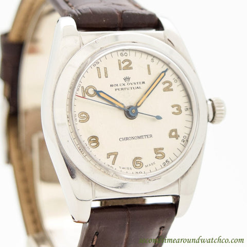 1944 Vintage Rolex Bubbleback Ref. 2940 Stainless Steel Watch